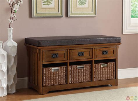 Benches With Drawers by Exposed Wooden Frame Oak Bench With Baskets Drawers