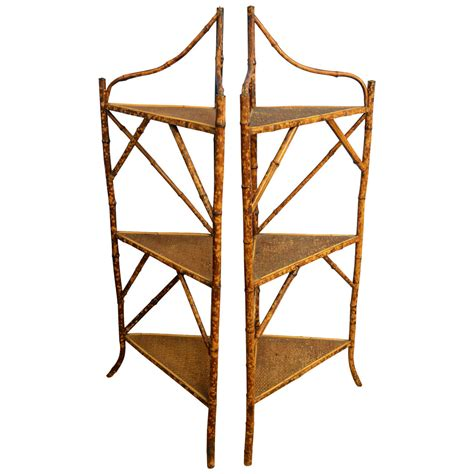 Corner Etageres by Pair Of Early 20th Century Bamboo And Rattan