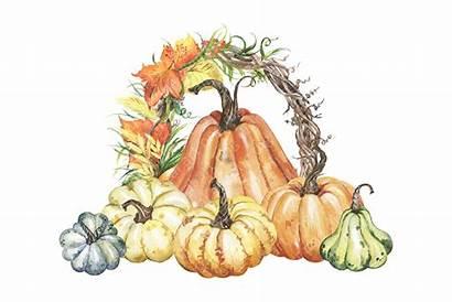 Autumn Wreath Clipart Watercolor Harvest Pumpkin Painting
