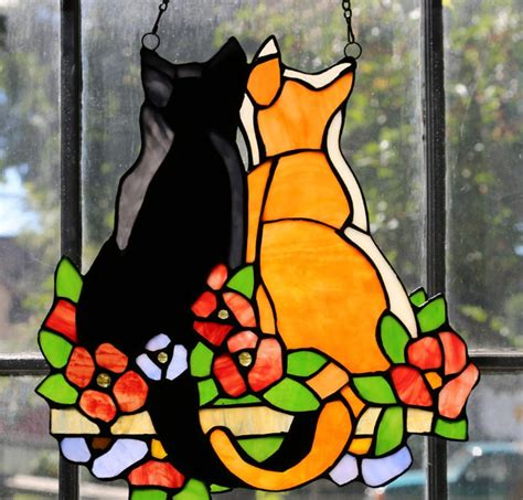river  goods stained glass cats   garden