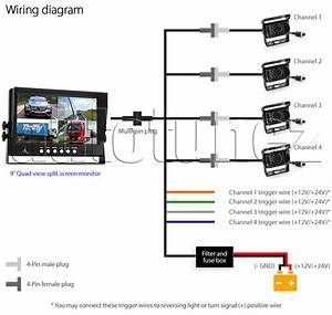 24v Waterproof 4 Ccd Reversing Parking Camera 4pin 9