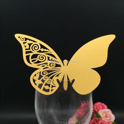 DIY Place Card Butterfly Cups Glass Wine Customized