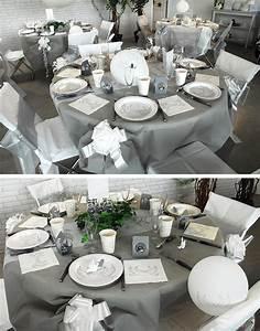 Table Grise Et Blanche : table de mariage colombe ~ Teatrodelosmanantiales.com Idées de Décoration