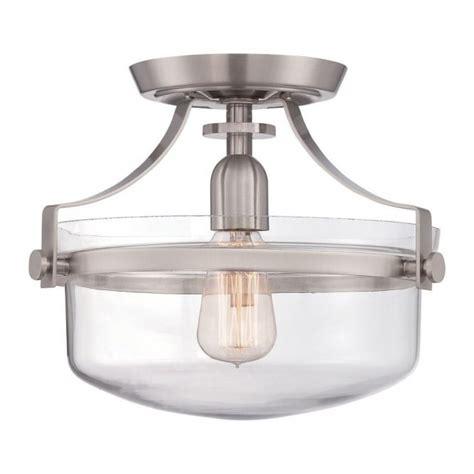 nickel semi flush ceiling lights vintage industrial semi flush ceiling light in brushed nickel