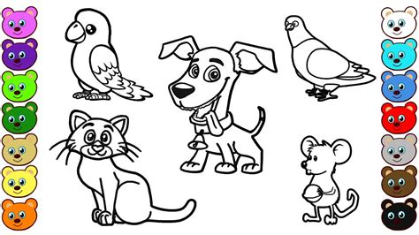 Learn Colors for Kids with Home Animals Coloring Pages