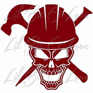 Construction Worker Skull in Hard Hat Vinyl Decal with