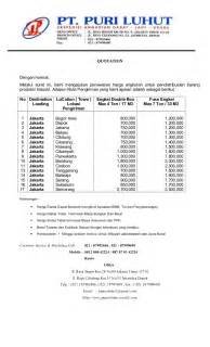 Contoh Surat Biaya Jasa Pengiriman Barang by Penawaran Harga Sewa Truk Box Pt Puri Luhut