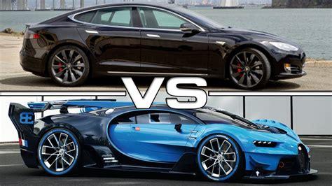 2015 Tesla Model S P90d Vs 2015 Bugatti Veyron Gran