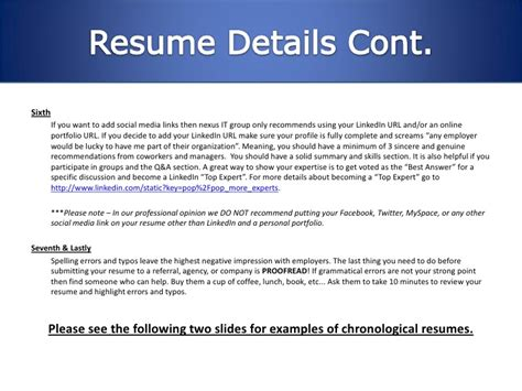 Resume Linkedin Url by Nexus It Resume Writing