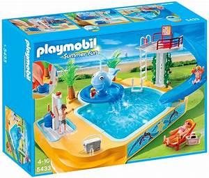 playmobil summer fun 5433 pas cher famille avec piscine With playmobil piscine avec toboggan pas cher