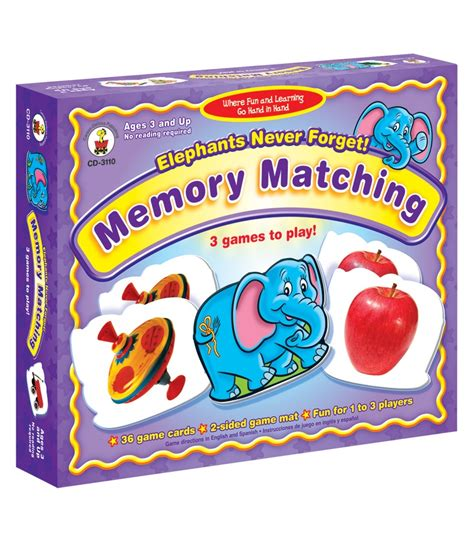 matching game elephants never forget memory matching board grade preschool k carson dellosa publishing