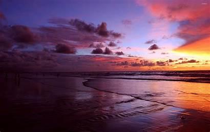 Sunset Purple Amazing Beach Beaches Ocean Sky