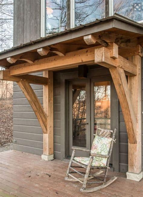 timber lodge  portico    home   contemporary facade house exterior timber