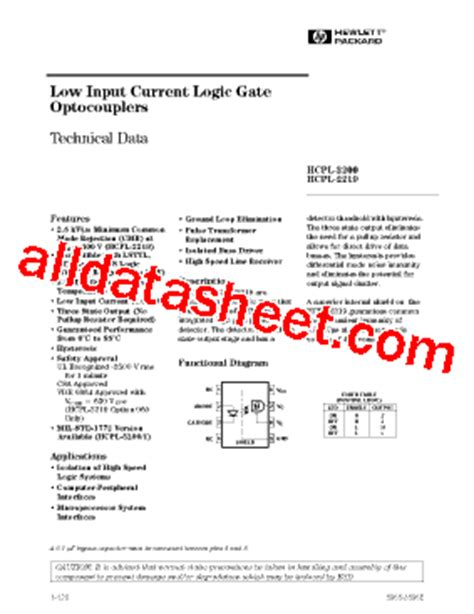 HCPL-2231 Datasheet(PDF) - Agilent(Hewlett-Packard)