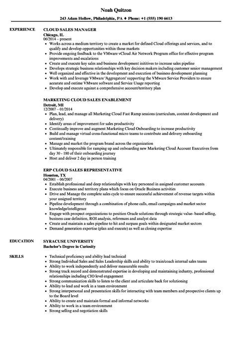 cloud sales resume samples velvet jobs