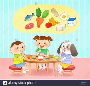 Smiling children eating healthy food Stock Photo, Royalty ...