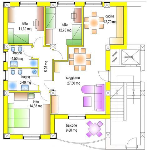 Planimetria Da Letto - casa da 100 mq