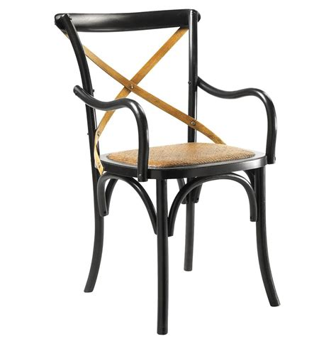 kasson country black oak wood dining arm chair