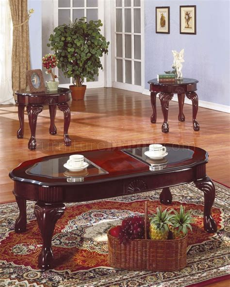 Rich Cherry Traditional 3pc Coffee Table Set Wglass Inserts