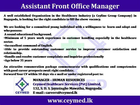 Assistant Front Office Manager Resumeassistant Front Office Manager Resume by Assistant Front Office Manager Vacancy In Sri Lanka