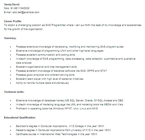 sas 2 years experience resume sas programmer developer free resume template