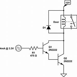 npn transistor to run 12v 05a from 33v 4ma electrical With circuit 2n2222