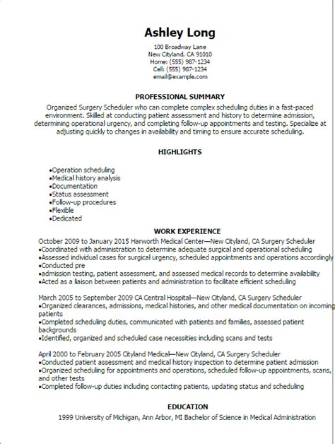Scheduling Coordinator Cover Letter by 1 Surgery Scheduler Resume Templates Try Them Now