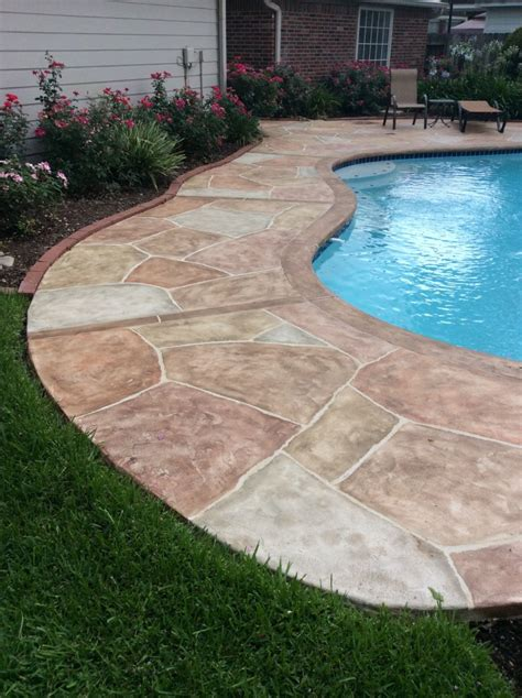 cool deck carvestone can cover concrete pea gravel cool deck and brick pool copings in austin dallas