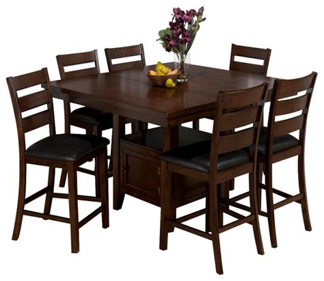 7 piece pub table set jofran 337 54 taylor 7 piece butterfly leaf counter height