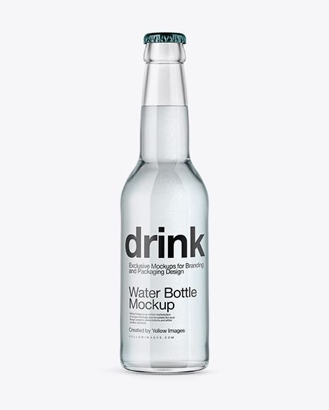 Simple edit with smart layers. 330ml Clear Glass Water Bottle Mockup in Bottle Mockups on ...