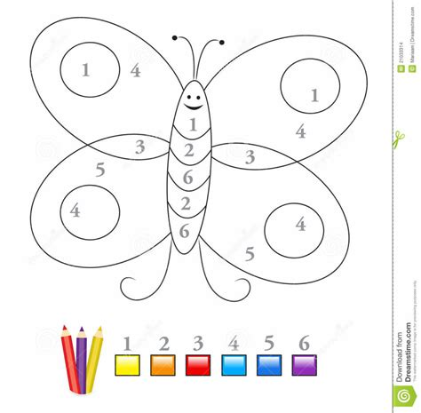 coloring pages color  number game  cute butterfly