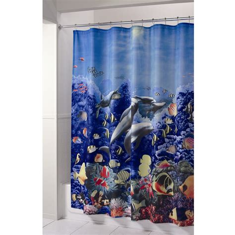 essential home shower curtain dolphin fabric