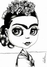 Kahlo Frida Coloring Drawings Eyebrow Khalo Blythe Rock Studio Mexican Drawing Draw Knows Face Printable Painting Pencil Eyebrows Situation Studios sketch template