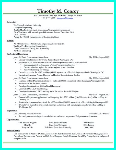 college student resume exles best business template