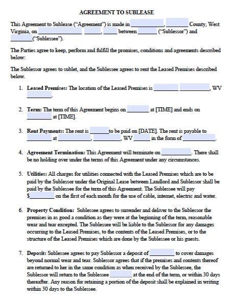 west virginia sublease agreement  template