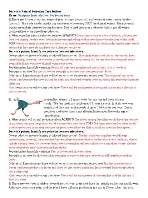 darwins natural selection worksheets answer key