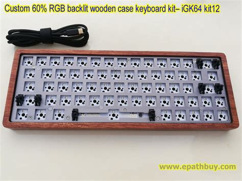 custom  rgb backlit mechanical keyboard kit wooden