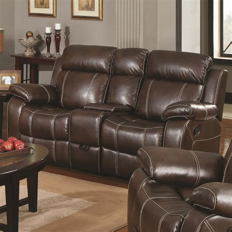Reclining Leather And Loveseat by Myleene Collection 603021 Brown Leather Reclining Sofa