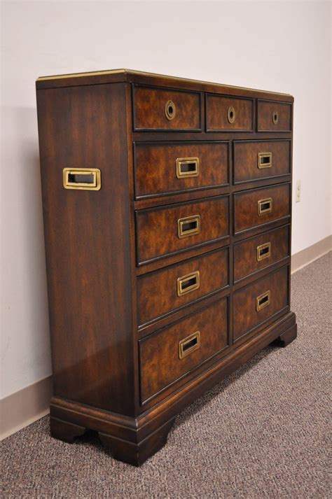 Drexel Heritage Dresser Hardware by Leather Top Caign Style Entry Chest With Brass Pulls By