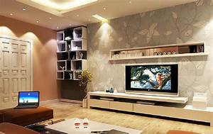 Interior design TV wall wallpaper and wall cupboard