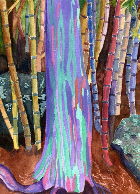rainbow eucalyptus tree watercolor painting  lynne