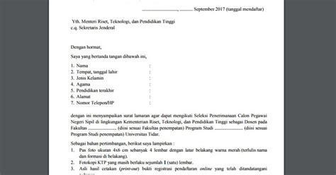 Contoh Surat Lamaran Cpns Kejaksaan 2017 by Contoh Surat Lamaran Cpns Kemenristek Dikti 2017
