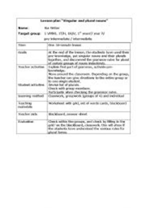 lesson plan for teaching singular and plural nouns singular and plural nouns lesson plan inductive method