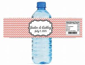 etsy chevron coral wedding water bottle labels great for With etsy wedding water bottle labels