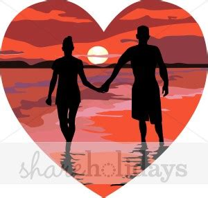sunset couple clipart valentines day clipart