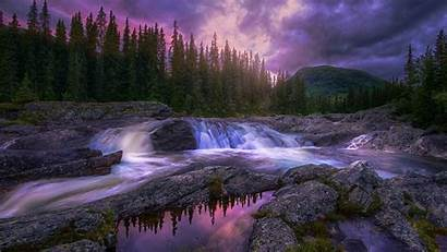 Stream Nature Landscape Forest Sunset Mountains Trees
