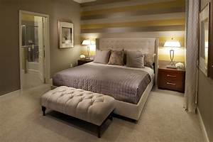 Warm Bedroom Interior Design With Unique Stripes Accents