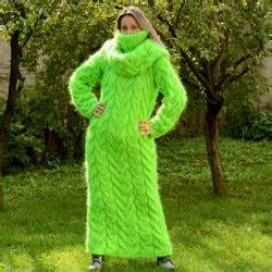 Woman Neon Green cable hand knit mohair dress by Extravagantza