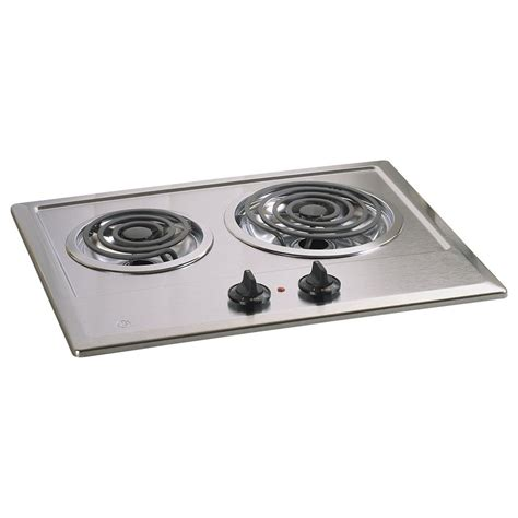 two burner cooktop jp201cbss ge 21 quot two burner electric cooktop stainless