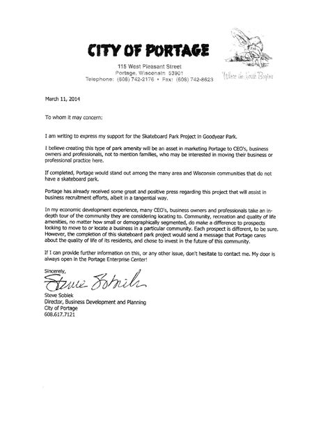 Support Letter Steve Sobiek Director, Business Development 001